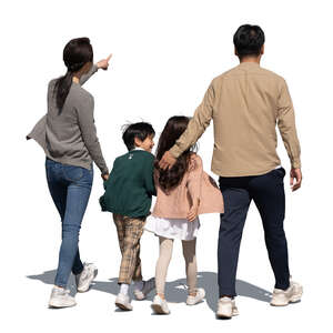 cut out family with two kids walking on the street