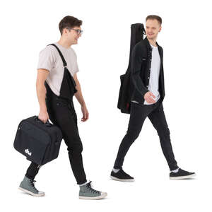 two cut out young men carrying musical instrument bags walking and talking