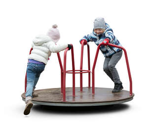two cut out kids playing on the playground