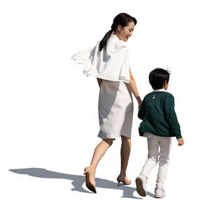 cut out chinese woman walking hand in hand with her son