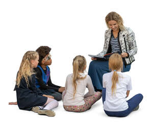 cut out teacher sitting at reding to a group of children