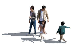 cut out asian family hanging out seen from above