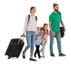 cut out family with many travel bags walking