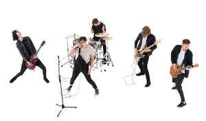 cut out rock band performing seen from above