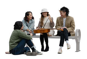 cut out group of young asian people sitting and talking