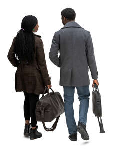 cut out man and woman carrying travel bags walking