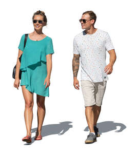 cut out man and woman walking on a summer day
