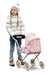 cut out little girl with a baby doll carriage