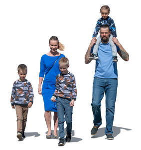 cut out family with three boys walking