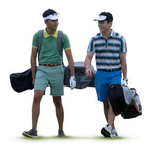 two cut out young men carrying golf gear walking and talking