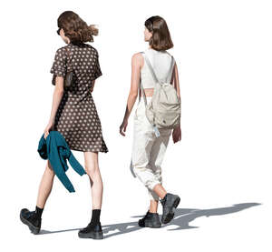 two cut out young trendy women walking in summer
