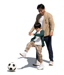 cut out asian man playing football with his son