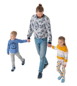 cut out man waking hand in hand with two kids