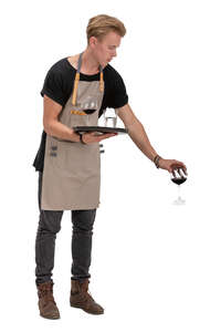 cut out waiter serving wine