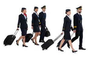 cut out air crew of two pilots and  three flight attendants walking