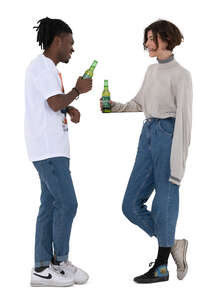cut out man and woman standing at the bar counter and drinking beer