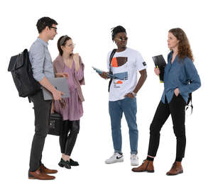 cut out group of four young people standing and talking
