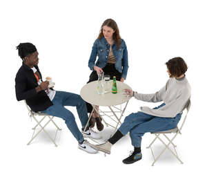 cut out group of young people sitting in a cafe seen from above