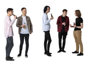 cut out group of young men hanging out and drinking beer
