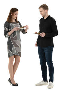 cut out man and woman standing in a buffet and eating and talking