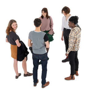 cut out group of five trendy young people standing and talking