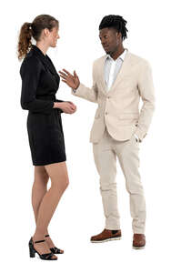 cut out man in a white suit talking to a woman in a black dress