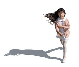 cut out top view of a little asian girl running