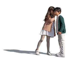 two cut out asian kids standing and talking