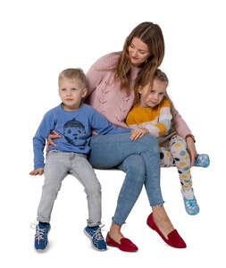 cut out mother with two kids sitting