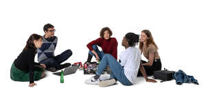 cut out group of college students sitting on the floor and studying
