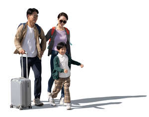 cut out asian family with travel bags walking