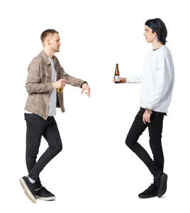 two cut out young men standig at a bar and drinking beer