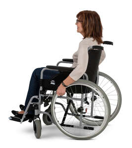 cut out woman sitting in a wheel chair
