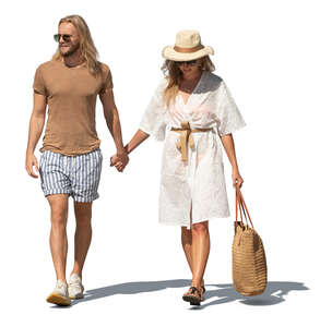 cut out man and woman in light summer clothes walking in a resort
