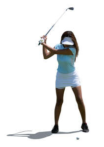 cut out woman playing golf
