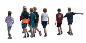 cut out group of children walking