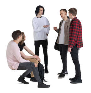 cut out group of young men sitting and standing and talking