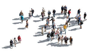 cut out large group of people seen from above