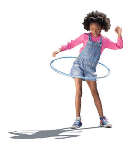 cut out backlit little girl hula hooping