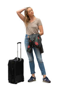cut out woman with a suitcase standing