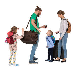 cut out family with travel bags standing
