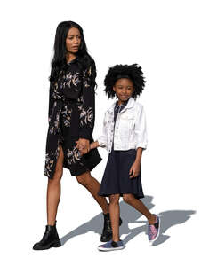 cut out black woman walking hand in hand with her daughter