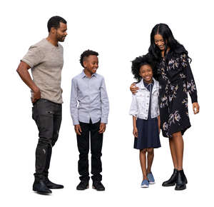 cut out black family with two kids standing