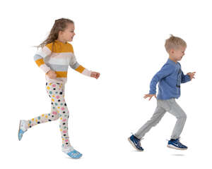 two cut out kids running around