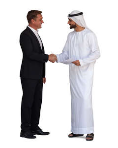 cut out arab man shaking hands with european businessman