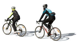 cut out man and woman cycling