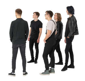 cut out group of young men standing