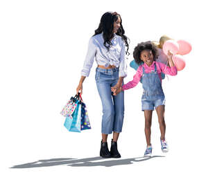 cut out mother and daughter with many balloons walking hand in hand
