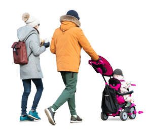 cut out family with a baby in stroller walking