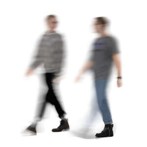 two cut out motion blur men walking and talking